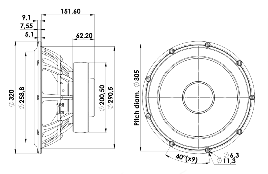 "The technical drawing of the Scan-Speak 13"" Revelator front woofer."