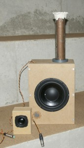 The first BeoLab 14 prototype - subwoofer and satellite. Note that the DSP and amplifiers would be external for this prototype.