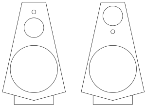 Figure 1: Two versions of a BeoLab 20-like loudspeaker with different driver arrangements.