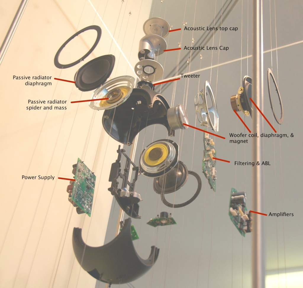 BeoLab 3 exploded view with all the bits labelled.