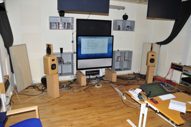 "The ""shark-fin"" loudspeaker during the listening portion of the experiments in Listening Room 1."