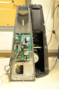The electronics (analogue filters and amplifiers) of a BeoLab 9. As you can see here, this circuit board normally lives inside the woofer enclosure. The power supply board is not shown in this photo.