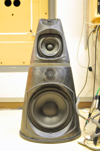 """A """"naked"""" BeoLab 9 with the Acoustic Lens assembly removed."""