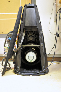 A view into the woofer cabinet of the BeoLab 9.