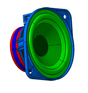 An entire moving coil loudspeaker. The green ring is the surround and the greyish-purple ring inside it is the diaphragm or speaker cone, glued to the top of the former.
