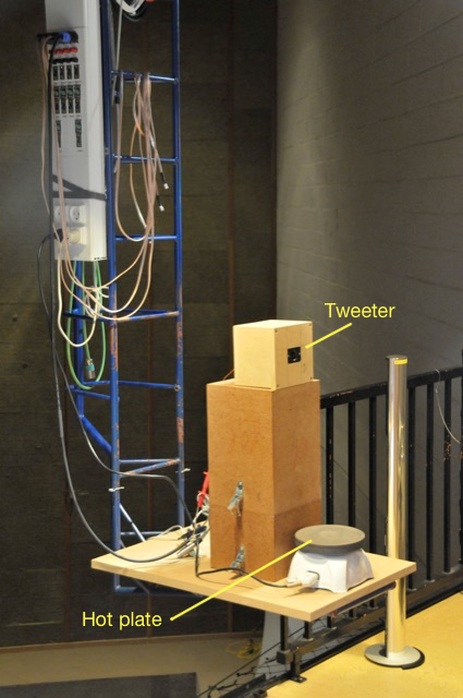 Figure 2: The setup for the first experiment showing the tweeter and the hot plate on the Crane in the Cube.